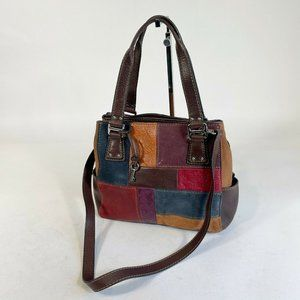 Fossil Leather Patchwork Crossbody Tote Purse Bag